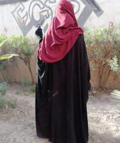 Abaya Bint.A Whool Peach Noir Dos
