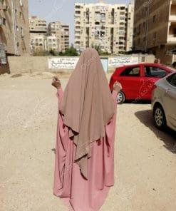 Abaya Saoudienne Bint.a Whool Peach Vieux Rose
