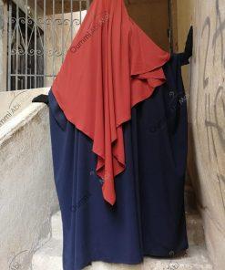 Abaya Bint.A Whool Peach Bleu Nuit Dos