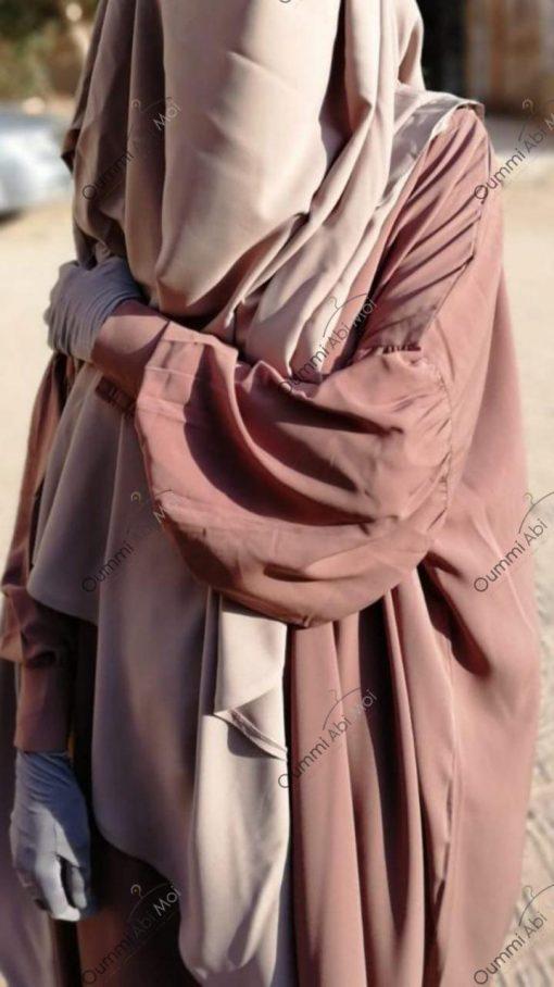 Abaya Manches Bint.A Whool Peach Taupe Rosé Détails