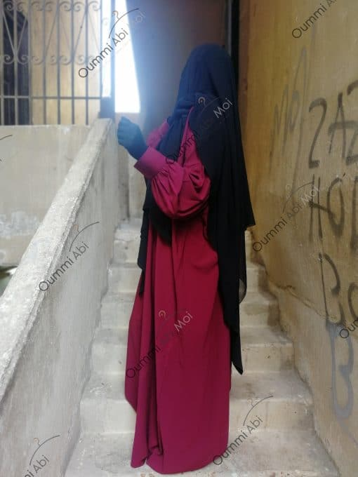 Abaya Manches Whool Peach Bint.a Bordeaux