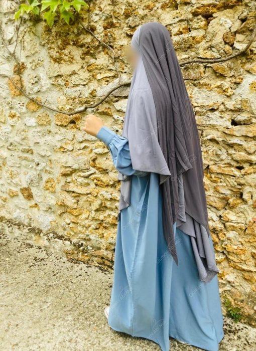 Abaya Manches Bint.a Whool Peach Bleu Ciel