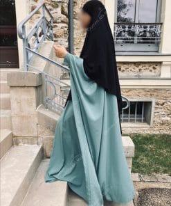 Abaya Saoudienne Bint.a Whool Peach Vert Opaline