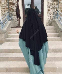 Abaya Saoudienne Bint.a Whool Peach Vert Opaline Dos