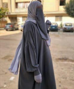 Abaya Manches Bint.a Whool Peach Gris Foncé Details