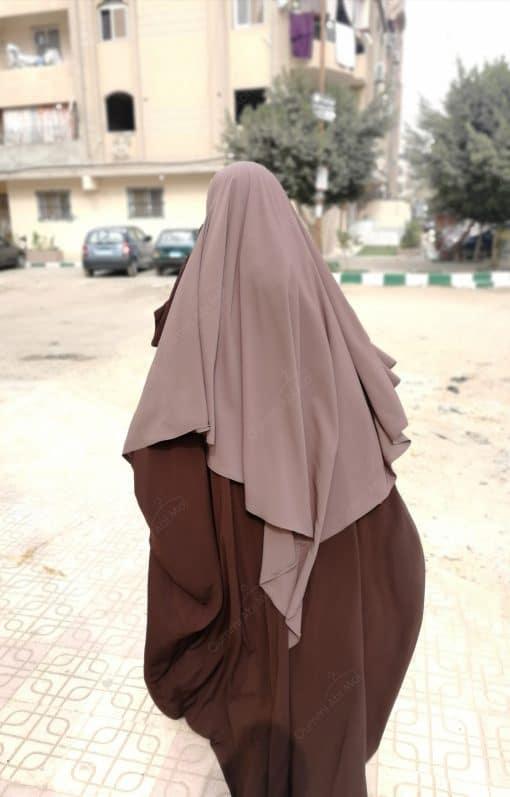 Abaya Saoudienne Bint.a Whool Peach Chocolat