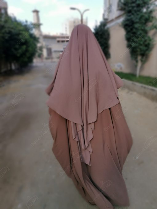 Abaya saoudienne Bint.a Caviary Premium Taupe Rosé