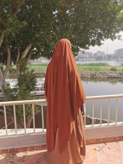 Khimar Double Whool Peach Camel Rouille Ouvert