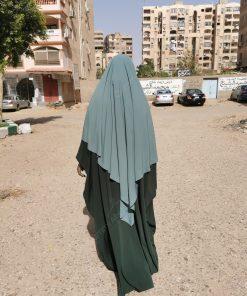 Abaya Saoudienne Whool Peach Vert Intense